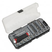 FINE TOOTH RATCHET SCREWDRIVER & ACCESSORY SET 38PC FROM SEALEY AK64905 SYP