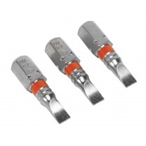 POWER TOOL BIT SLOTTED 4MM COLOUR-CODED S2 25MM PACK OF 3 FROM SEALEY AK210507 SYSP