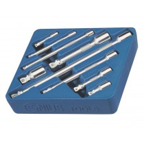 GENIUS TOOLS BE-2349 9PC 1/4 INCH , 3/8 INCH & 1/2 INCH DR. WOBBLE EXTENSION BAR SET