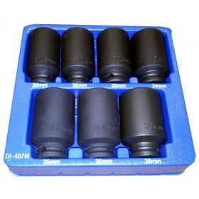 GENIUS TOOLS DI-407M 7PC 1/2 INCH DR. METRIC DEEP IMPACT SOCKET SET (CR-MO)